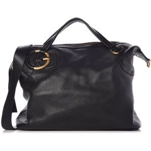 Gucci Twill Plait G Bag in Black Pebbled Leather